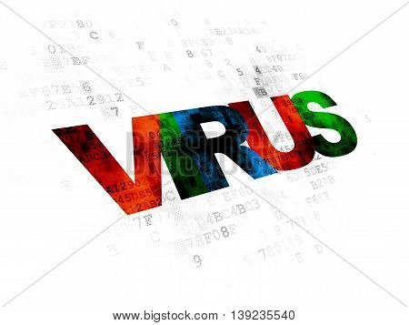 Protection concept: Pixelated multicolor text Virus on Digital background