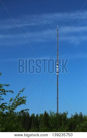 Transmitter Tower In Sweden In Front Of Blue Sky