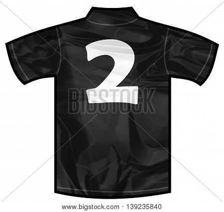 Number 2 two Black sport shirt as a soccer, hockey, basket, rugby, baseball, volley or football team t-shirt. For the goalkeeper or the referee or New Zeland team