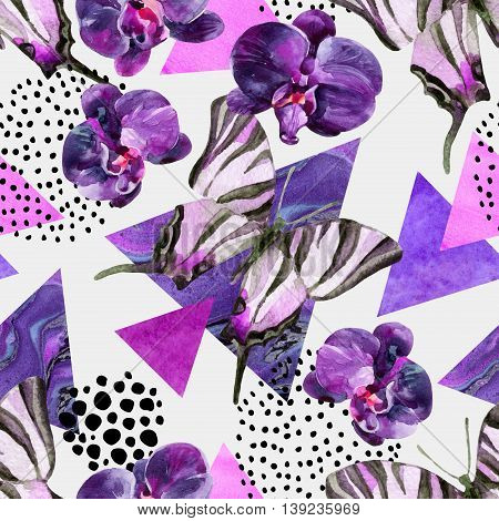 Abstract natural geometric seamless pattern. Triangles with butterfly orchid and marble grunge textures. Abstract geometric background in retro vintage 80s 90s pop art. Hand drawn floral illustration