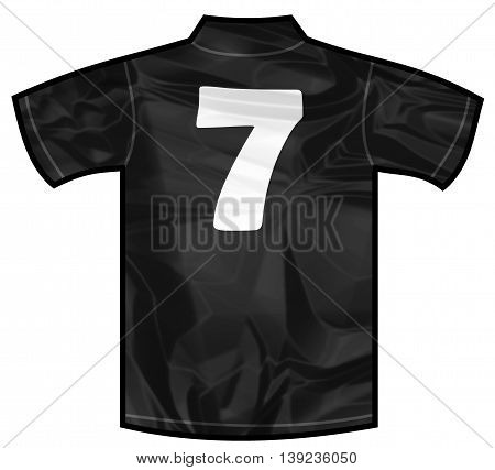 Number 7 seven Black sport shirt as a soccer, hockey, basket, rugby, baseball, volley or football team t-shirt. For the goalkeeper or the referee or New Zeland team