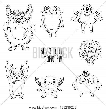 Cartoon cute character Monsters. Vector illustration. Sketch illustration.