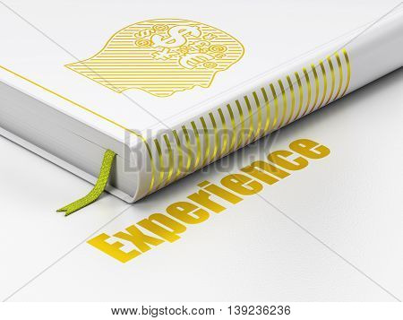 Business concept: closed book with Gold Head With Finance Symbol icon and text Experience on floor, white background, 3D rendering