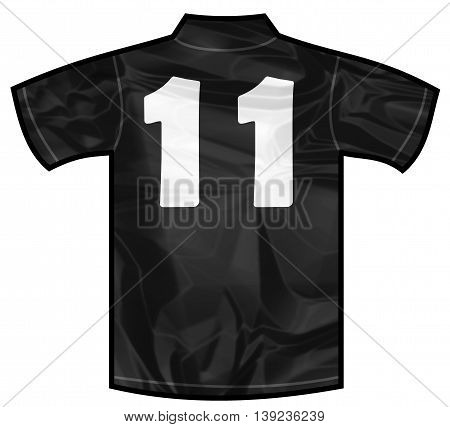 Number 11 eleven Black sport shirt as a soccer, hockey, basket, rugby, baseball, volley or football team t-shirt. For the goalkeeper or the referee or New Zeland team
