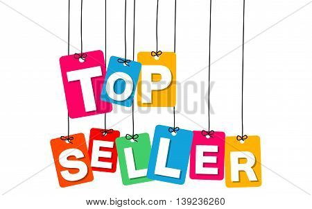 Vector colorful hanging cardboard. Tags - top seller on white background