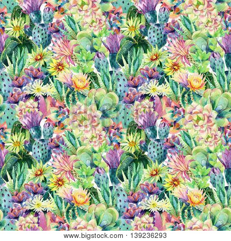 Watercolor blooming cactus background. Exotic cacti with flowers seamless pattern. Succulent plants and cactus garden pattern. Hand painted watercolor illustration.