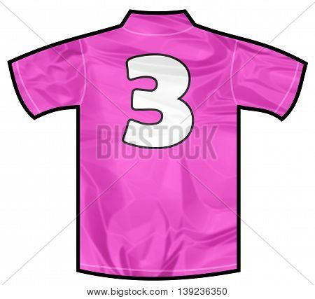 Number 3 three pink sport shirt as a soccer, hockey, basket, rugby, baseball, volley or football team t-shirt. For the goalkeeper or woman player