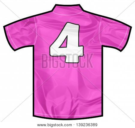 Number 4 four pink sport shirt as a soccer, hockey, basket, rugby, baseball, volley or football team t-shirt. For the goalkeeper or woman player