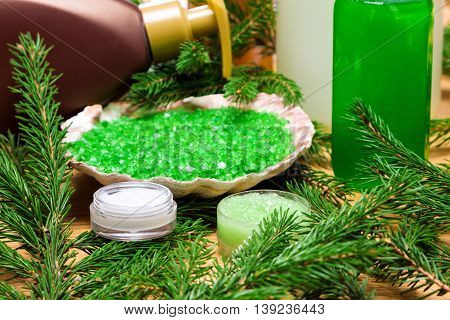 Natural facial skincare products: moisturizing eye cream, organic honey and herbal scrub, sea salt with essential oils, facial wash gel, liquid soap surrounded by firry branches on wooden surface