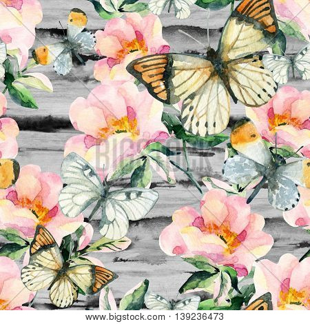 Watercolor briar flowers and butterfly seamless pattern. Dog Rose branches on striped monochrome background. Hand painted illustration vintage inspired with paper texture