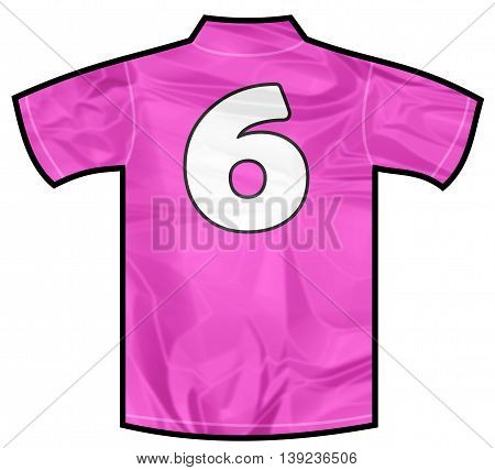 Number 6 six pink sport shirt as a soccer, hockey, basket, rugby, baseball, volley or football team t-shirt. For the goalkeeper or woman player