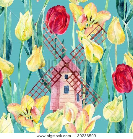 Watercolor colorful tulips field with old windmills. Blooming tulips season in Holland. Watercolor floral seamless pattern on blue green background. Hand painted illustration vintage inspired