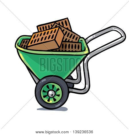 Green construction workers cart or truck with bricks. Profession series. Childrens vector illustration.