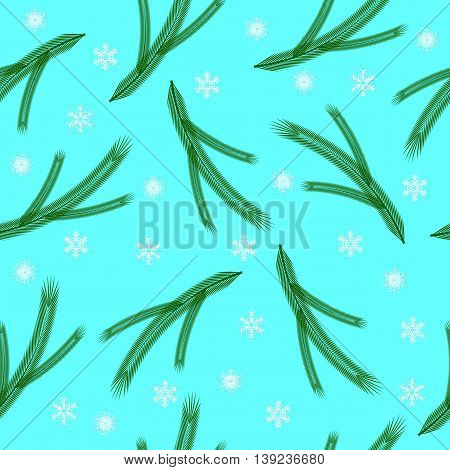 seamless pattern of the branches of spruce and snowflakes on a turquoise background