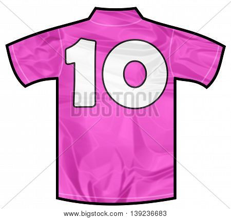 Number 10 ten pink sport shirt as a soccer, hockey, basket, rugby, baseball, volley or football team t-shirt. For the goalkeeper or woman player