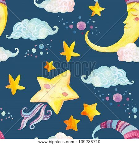Watercolor fairy tale seamless pattern with magic sun moon cute little star and fairy clouds on night background. Hand painted illustration for kids children design