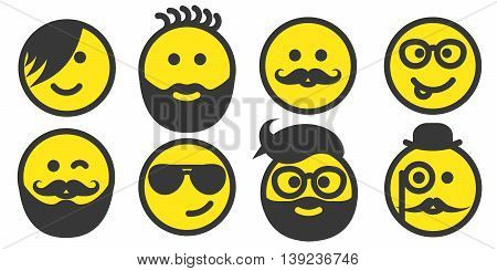 Set of hipster yellow smiley faces icons, emoticons, emoji isolated on white background, vector illustration