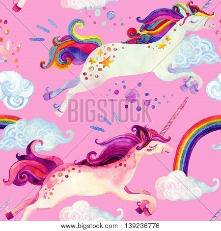 Watercolor little unicorn seamless pattern. Watercolor fairy tale with flying unicorn rainbow magic clouds and rain background. Hand painted fairy tale elements for kids children design
