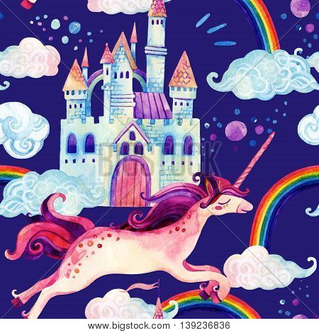 Watercolor little unicorn and magic castle seamless pattern. Watercolor fairy tale with flying unicorn rainbow qand castle background. Hand painted fairy tale elements for kids children design