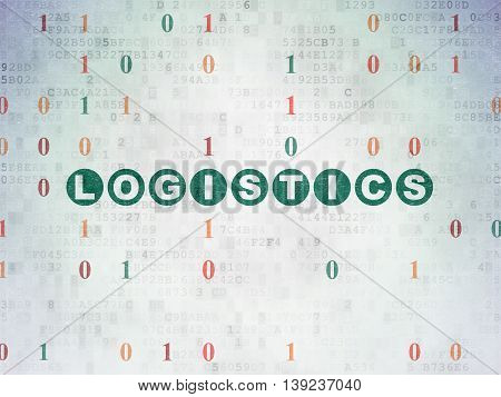 Finance concept: Painted green text Logistics on Digital Data Paper background with Binary Code