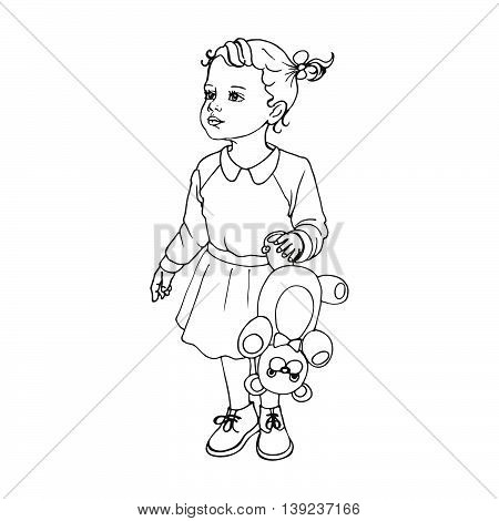Vector illustration of a portrait of a beautiful child. Little girl with a teddy bear. Doodle drawing on an isolated white background.