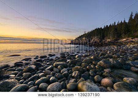 Rocky Coast of Maine in Autumn - Acadia National Park
