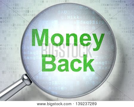 Business concept: magnifying optical glass with words Money Back on digital background, 3D rendering