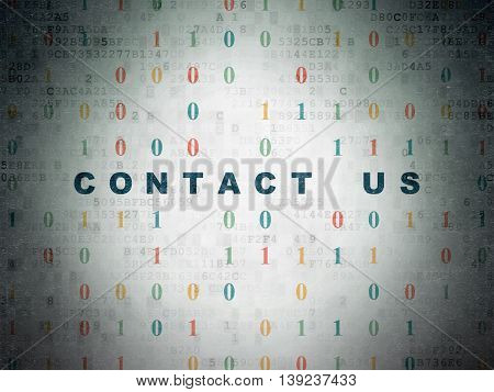 Business concept: Painted blue text Contact us on Digital Data Paper background with Binary Code