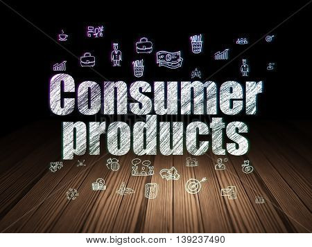 Finance concept: Glowing text Consumer Products,  Hand Drawn Business Icons in grunge dark room with Wooden Floor, black background