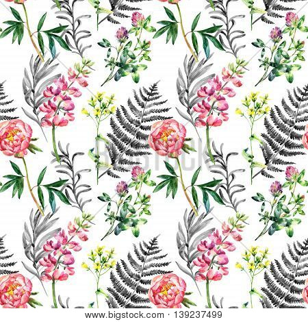 Watercolor garden flowers seamless pattern. Lupin peony and wild meadow flowers on white background. Hand painted illustration with paper texture