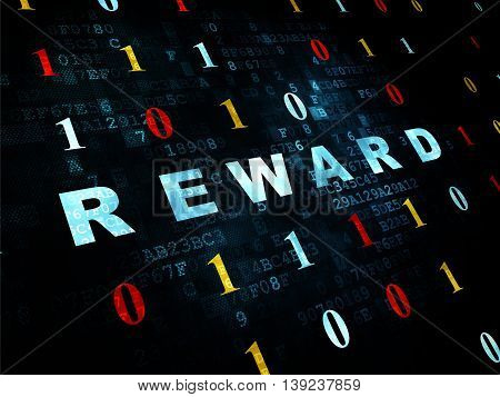 Business concept: Pixelated blue text Reward on Digital wall background with Binary Code