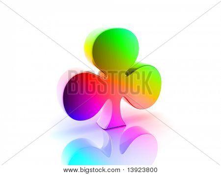 Digital illustration of claver symbol  in 3d on white background