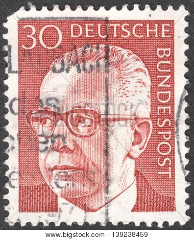 MOSCOW RUSSIA - CIRCA JANUARY 2016: a stamp printed in GERMANY shows a portrait of Gustav Heinemann the series