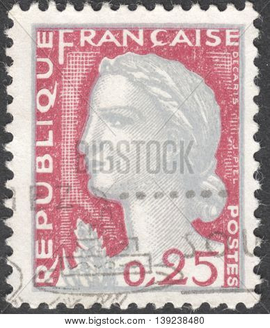 MOSCOW RUSSIA - CIRCA JANUARY 2016: a post stamp printed in FRANCE shows a portrait of Marianne the national emblem of France the series