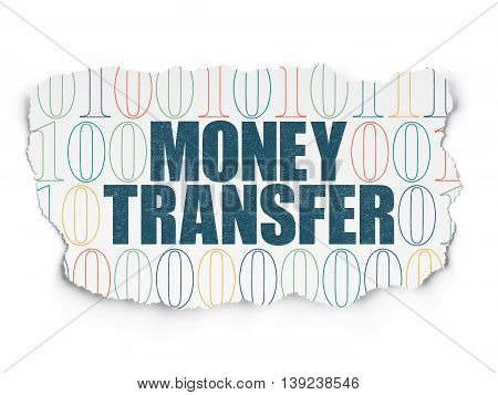 Business concept: Painted blue text Money Transfer on Torn Paper background with  Binary Code