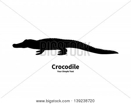 Vector illustration of black silhouette of crocodile isolated on white background. Croc side view profile.