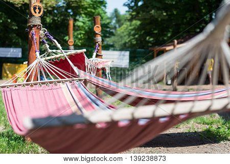 relaxing hammocks in the beautiful summer yard