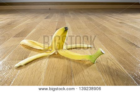 Banana Peel on Parquet Floor
