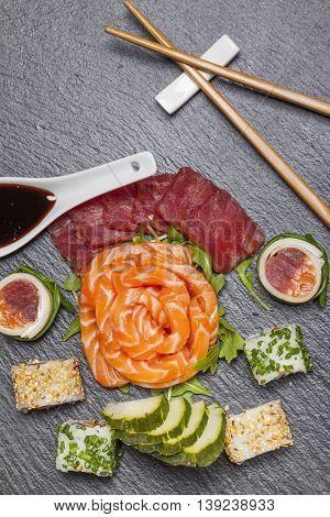 Sushi set on stone slate