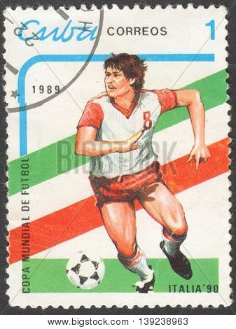 MOSCOW RUSSIA - CIRCA JANUARY 2016: a post stamp printed in CUBA shows a football player the series