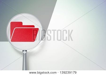 Business concept: magnifying optical glass with Folder icon on digital background, empty copyspace for card, text, advertising, 3D rendering