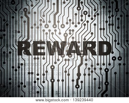 Business concept: circuit board with  word Reward, 3D rendering