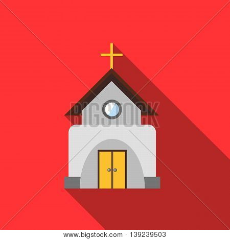 Church icon in flat style with long shadow. Religion symbol
