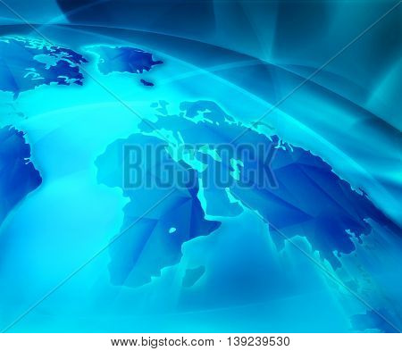 Abstract Futuristic Modern Blue With World Map Background