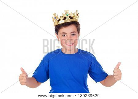 Happy child with golden crown on the head isolated on a white background