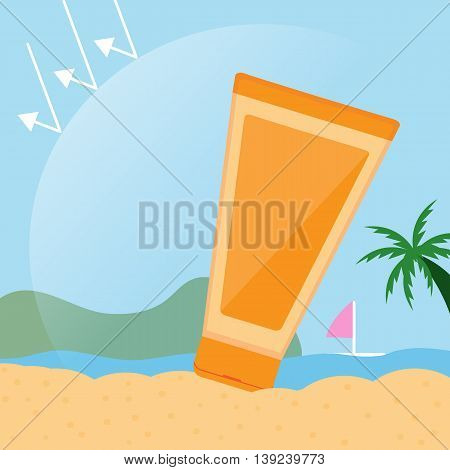 Sun skin cream  cartoon vector design .