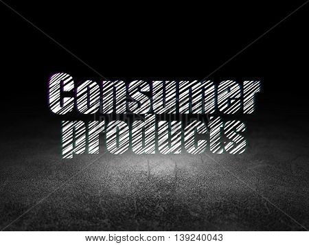Finance concept: Glowing text Consumer Products in grunge dark room with Dirty Floor, black background