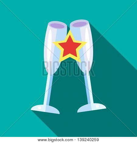 Clink glasses icon in flat style with long shadow. Dishes symbol