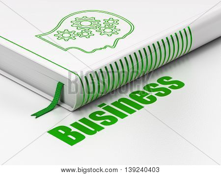 Finance concept: closed book with Green Head With Gears icon and text Business on floor, white background, 3D rendering
