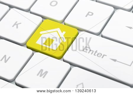 Finance concept: computer keyboard with Home icon on enter button background, selected focus, 3D rendering